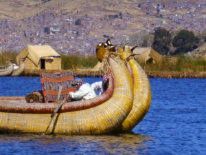 Reed boats in the Uros