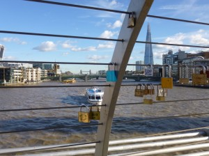 The Shard and Tower Bridge from the love locks on Millenium bridge.