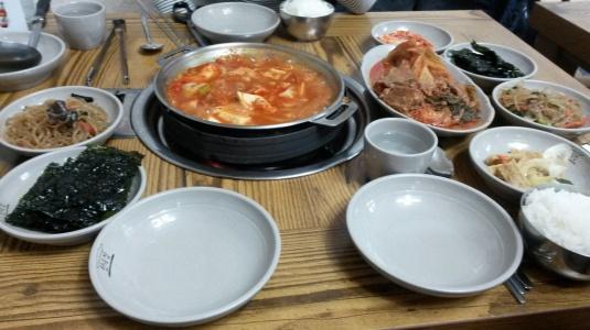 Kimchi jiggae at the Hanok House