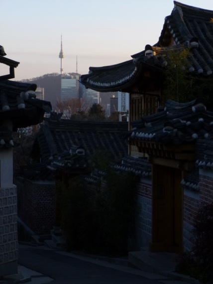 N Seoul tower - from Bukchon hanok village