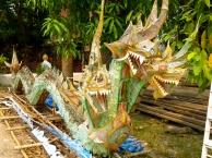 Fading nagas at Wat Xieng Thong