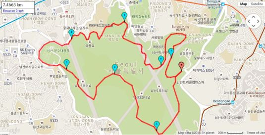 Namsan circuit 7.5km hill run