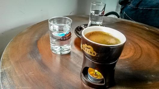One hot coffee