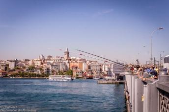 Galata tower and fishermen
