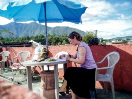 Dance homework on a hostel roof, Angtigua Guatemala