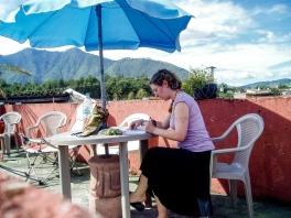 Dance homework on a hostel roof, Angtigua Guatemala