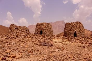 three tombs lined on the ridge