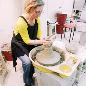 Me at a pottery wheel